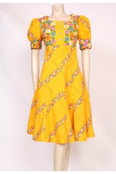 Yellow 60's Mod Print Dress