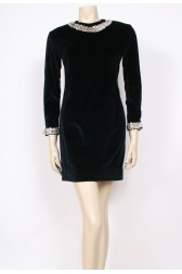 Velvet Sequins Shift Dress