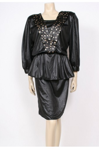 Leather-Look Stars Dress