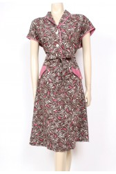 Late 40's Pink Print Dress