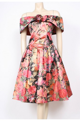 Golden Floral Party Dress