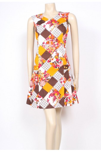 Patch Print 60's Dress
