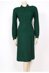 Green Check Wool 40's Dress