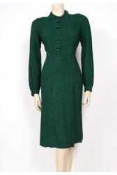Green Check Wool 40's Dress