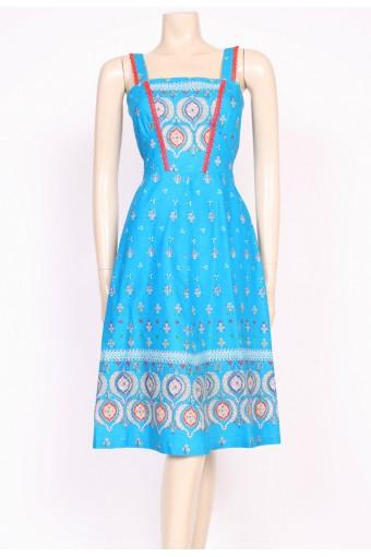 Turquoise Print Sun Dress
