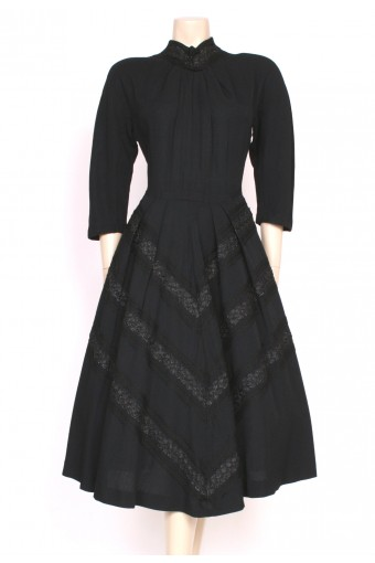 1940's Pom-Poms Grosgrain Dress