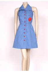 70's Halterneck Denim Dress