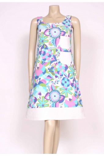 A-Line 60's Printed Dress
