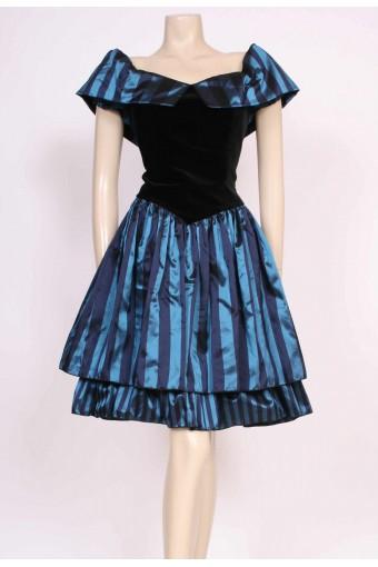 Stripe Velvet Party Dress