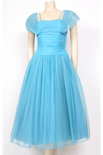 50's Aquamarine Blue Prom Dress