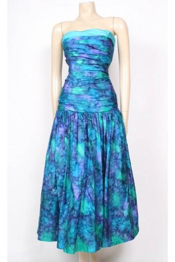 Watercolour Silk Strapless Dress