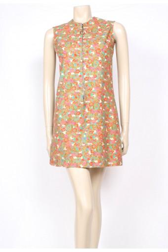 Zip Front Flower Mod Dress
