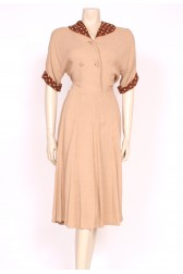 Tan Spotted 1940's Dress