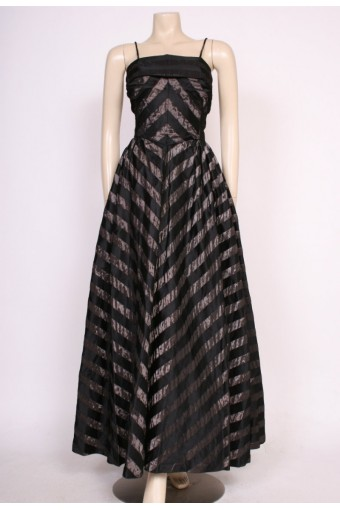 Striped Early 1950's Gown
