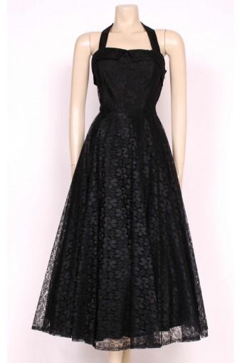 80's Black Lace Party Dress