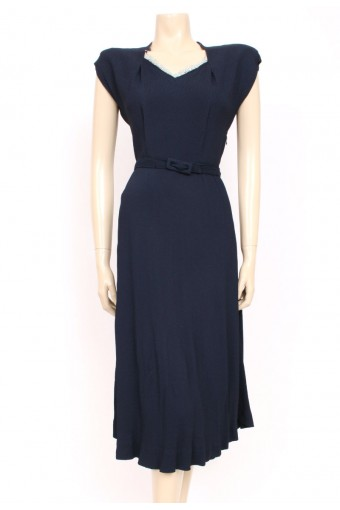 40's Crepe Belted Dress