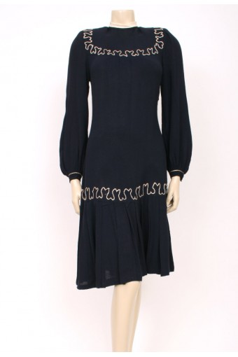 40's Navy wool Dress