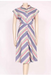 70's Button-Up Stripes Dress