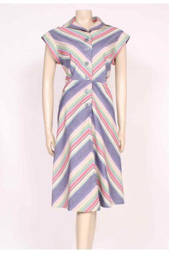 70's Button-Up Stripes Dress