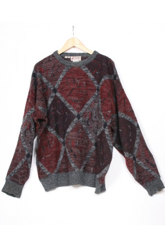 Grey & Red 80's Jumper