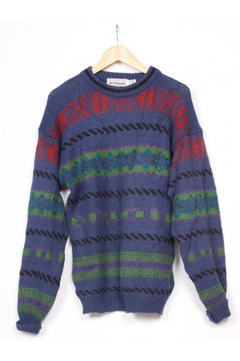 Chunky Blue 80's Knit