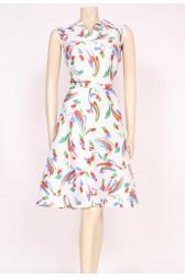70's White Print Dress
