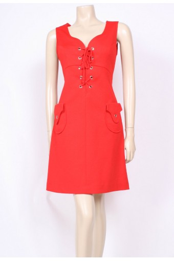 Red Rivets Mod Dress