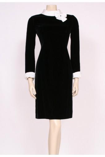Velvet Bow Collar Dress