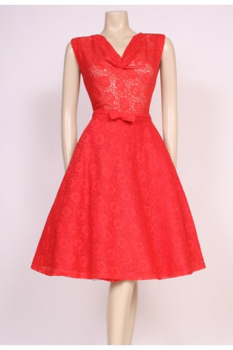 80's Red Lace Dress