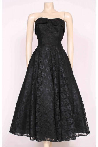 Strapless Black Lace Dress