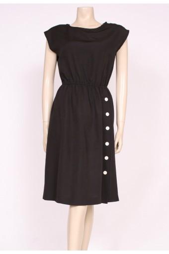 80's Black Buttons Dress
