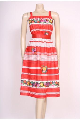 70's Red Stripes Sun Dress