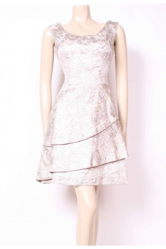 Silver Brocade Tier Dress