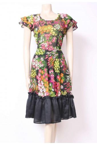 Bouquet Print Frill Dress