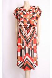 Geometric Print 80's Dress