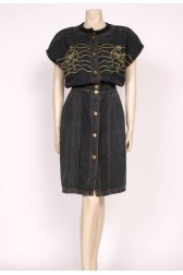 Black & Gold Denim Dress