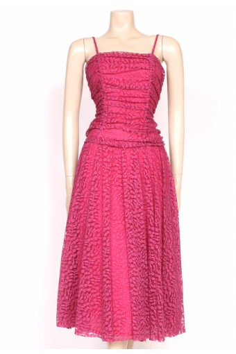 80's pink lace party dress