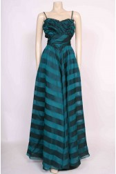 Teal Stripe Ruffle Gown