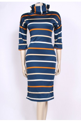 Striped Roll Neck Dress