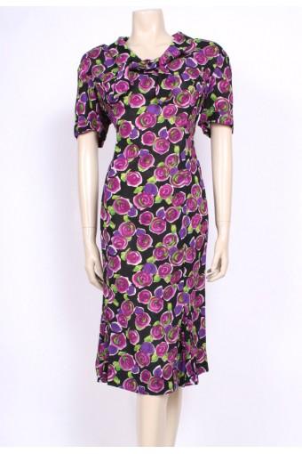 Rayon Rose Print 50's Dress