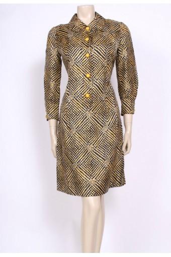 Yellow Buttons 60's Dress