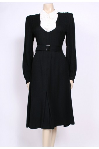 Black Wool Bib 40's Dress