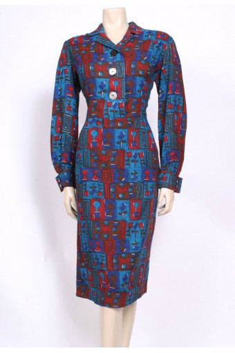 Modernist Teal 50's Dress