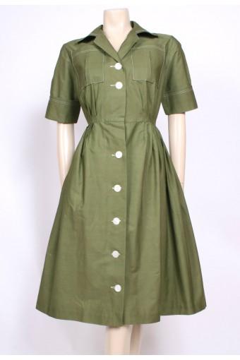 Moss Green Shirt Dress