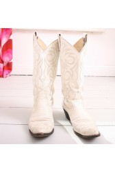 White Larry Mahan Cowboy Boots