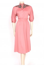 70's pink patch dress