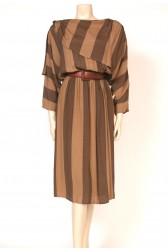 Tan 80's batwing stripe dress