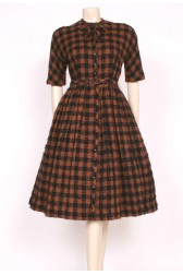 1950's Brown Wool CARVEN Dress