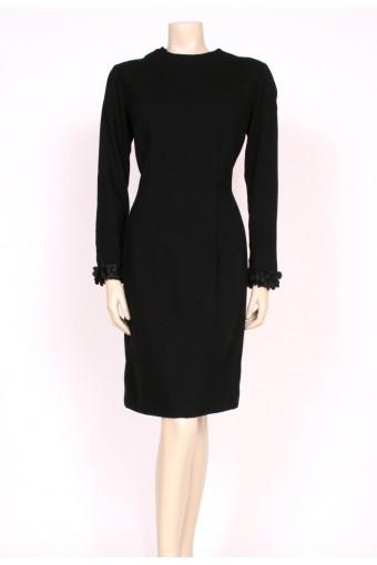 1960's Black Wool Wiggle Dress