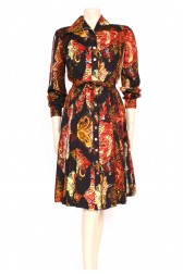 70's Autumn Paisley Shirt Dress